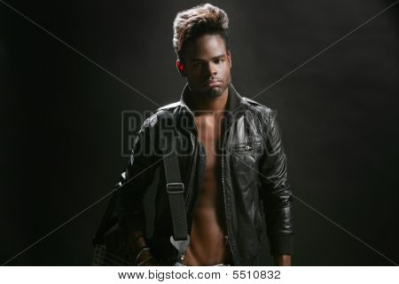 Afro American Leather Rock Star Musician