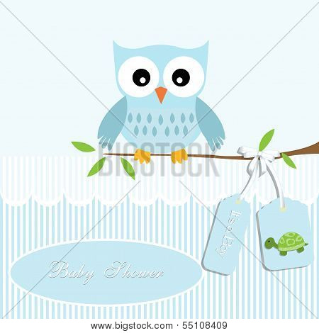 baby shower card boy,owl and stripe, turtle