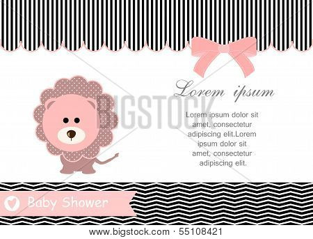baby shower card,pink lion and White background