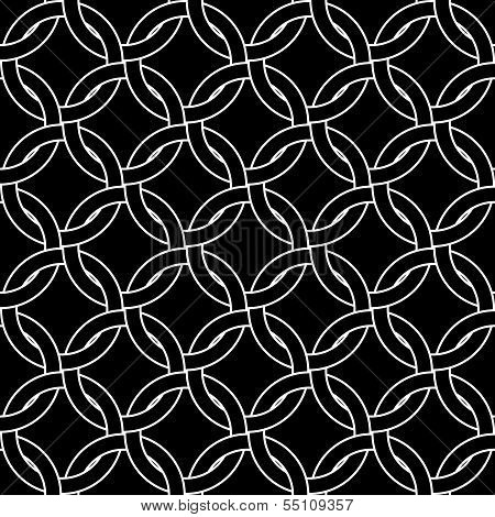 Black and white abstract geometric woven circles seamless pattern, vector