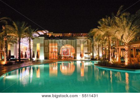 Night Illumination Of Popular Hotel, Sharm El Sheikh, Egypt