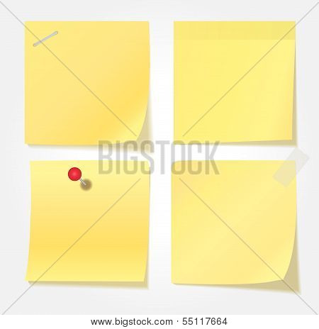Collection Of Various Yellow Note Papers. Vector Illustration
