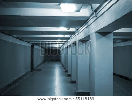 Underground Passage With Lights And Concrete Columns