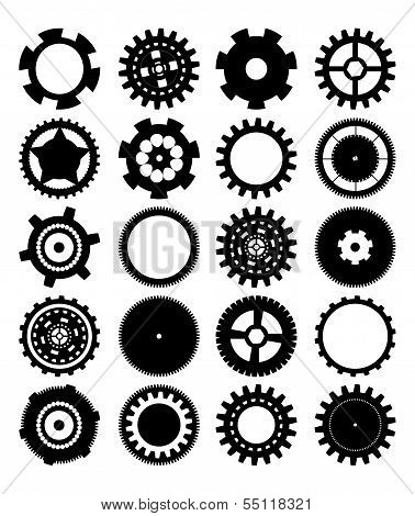 gears silhouette over white background