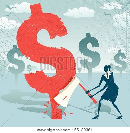 Abstract Businesswoman Cuts Down The Dollar.eps