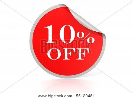 Red round sticker for 10 percent discount