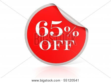 Red round sticker for 65 percent discount