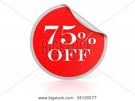 Red round sticker for 75 percent discount