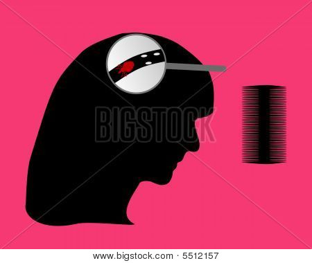 Head Of Woman, Louse, Nit And Lice Comb