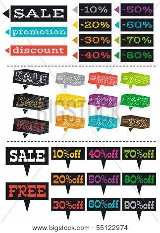 Color Labels With Sale Offer, Vector Illustration