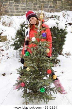 Girl With Christmas Tree