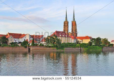 Wroclaw. Island Tumski At Sunset