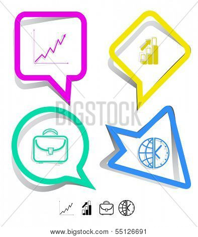 Business icon set. Briefcase, globe and clock, diagram. Paper stickers. Vector illustration.