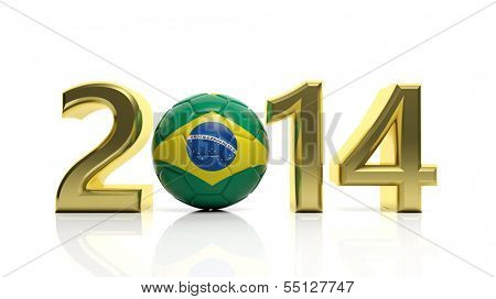 Gold 2014 with Brazilian soccer ball isolated on white