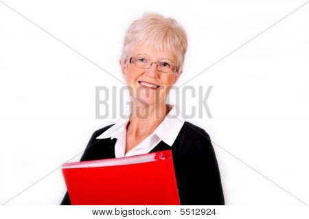 Senior Business Woman Holding Red File Folder