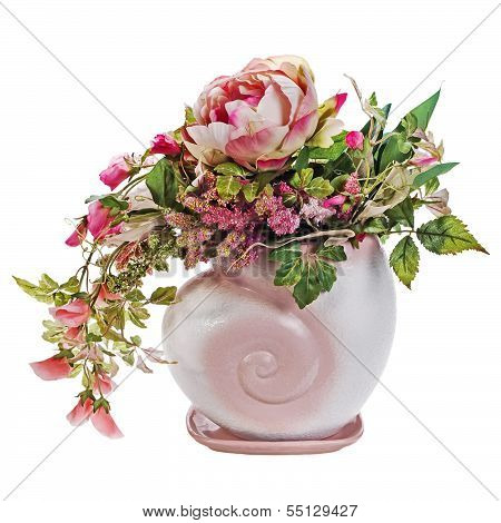 Colorful Bouquet From Roses And Peon Flowers In Vase Isolated On White Background.