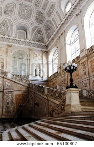 NAPLES, ITALY CIRCA MAY 2012 - Stairs inside the Royal Palace