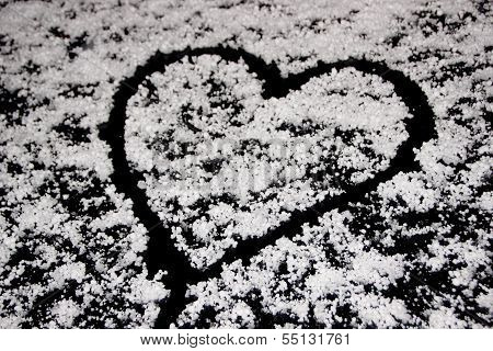 Heart Drawing On Windshield Covered With Hail