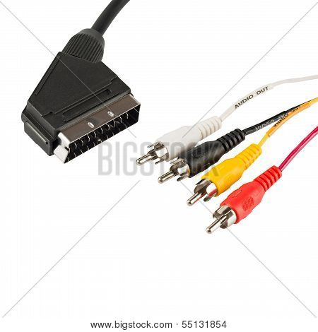 TV scart connector and tulip wires