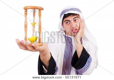 Arab man thinking about passage of time