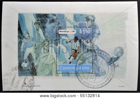 A stamp printed in Argentina dedicated to world cup football USA 1994