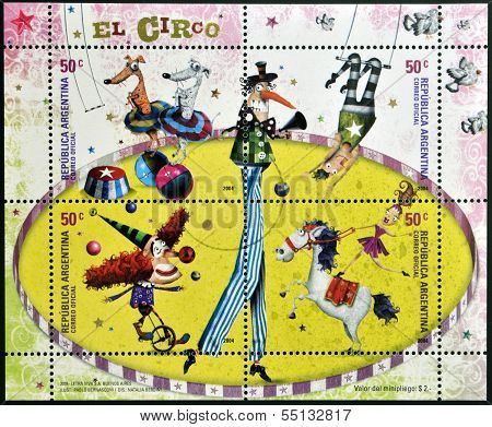 stamps printed in Argentina dedicated to circus