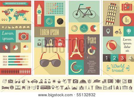 Infografía plano elementos además de conjunto de iconos. Vector EPS 10.