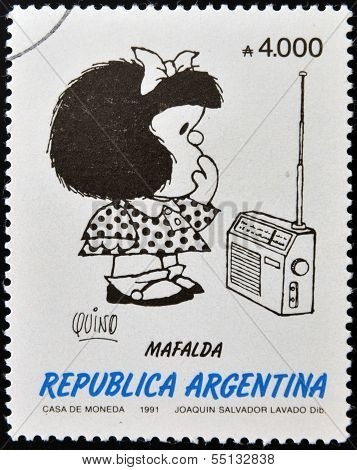 stamp shows Mafalda a comic strip written and drawn by Argentine cartoonist Quino