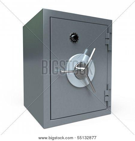 3D rendering of a locked  safe deposit box