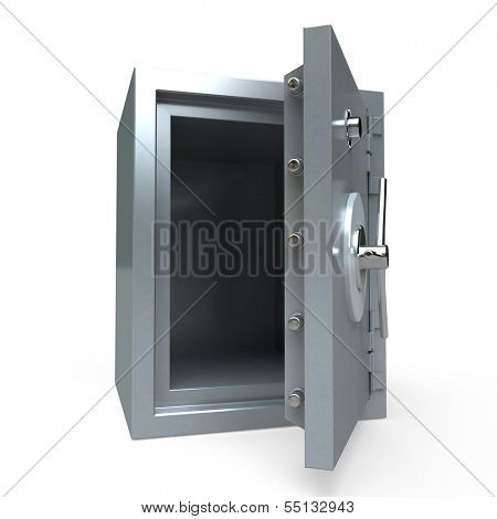 3D rendering of an open empty safe