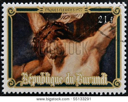 Stamp printed in Burundi shows Christ crucified by Peter Paul Rubens