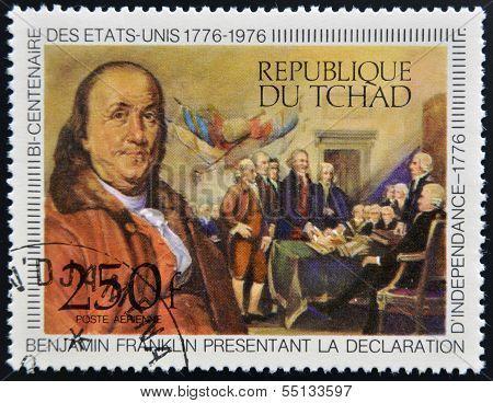 stamp shows Benjamin Franklin presenting the Declaration of Independence