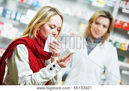 ill purchaser with medical drug in pharmacy drugstore