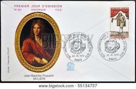 A stamp printed in France shows image of Figaro the literary character created by Moliere