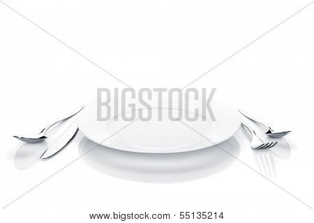 Silverware or flatware set of fork, spoon, knife and plate. Isolated on white background