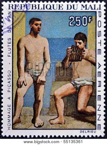 A stamp printed in Mali shows the work