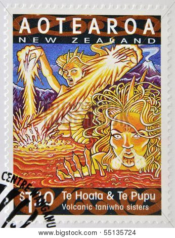 stamp printed in New Zealand shows Te Hoata and Te Pupu volcanic taniwha sisters