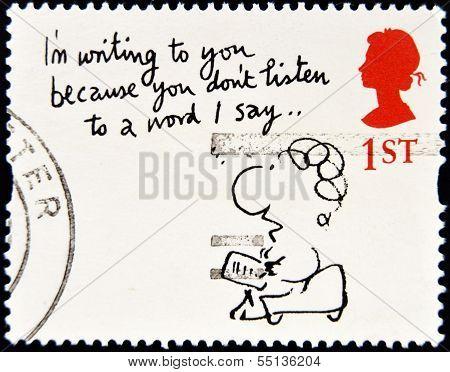 Um selo impresso na Grã-Bretanha mostra ' estou escrevendo para você porque... ' (Mal Calman)