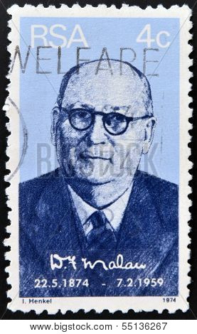 stamp shows a portait of prime minister Daniel Francois Malan