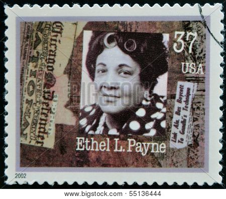 A stamp printed in USA dedicated to Women in Journalism shows Ethel L. Payne