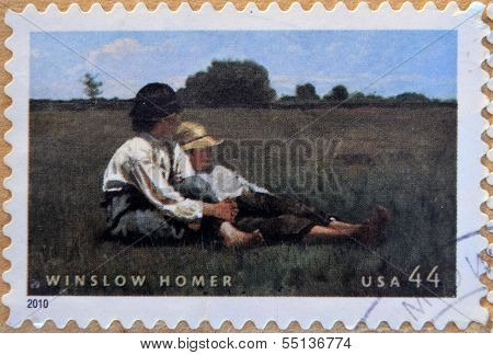 A stamp printed in USA shows Boys in a Pasture by Winslow Homer