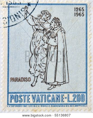 stamp dedicated to Anniversary of Birth of Dante shows Dante and Beatrice in Paradise