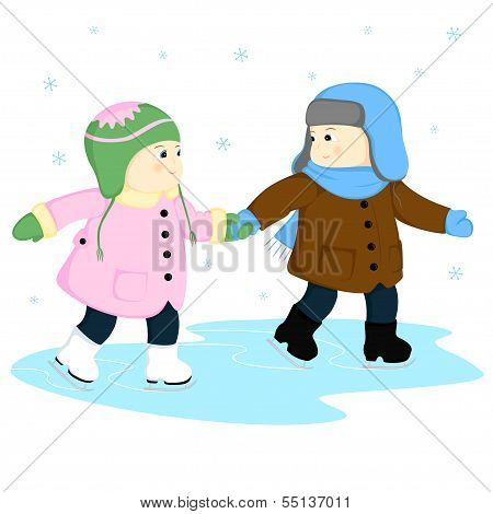 A Boy And A Girl At The Rink