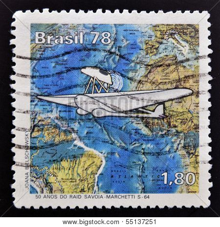 A stamp printed in Brazil dedicated to Savoia - Marchetti SM.82