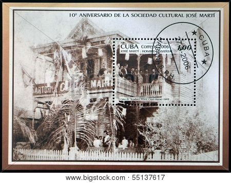 A stamp printed in Cuba shows Jose Marti in the house of Teodoro Perez Cayo Hueso