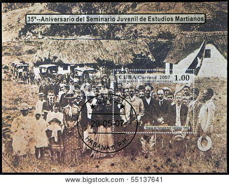 A stamp printed in Cuba shows Jose Marti Jose Marti in las vegas Temple Hall Jamaica