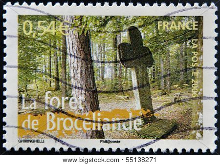 A stamp printed in France shows Paimpont forest