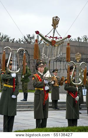Military parade at Piskarevskoye memorial cemetery