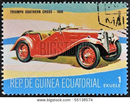 stamp printed in Guinea dedicated to vintage cars shows Triumph Southern Cross 1935