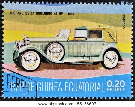 stamp printed in Guinea dedicated to vintage cars shows Hispano-Suiza Boulogne 45 HP 1930